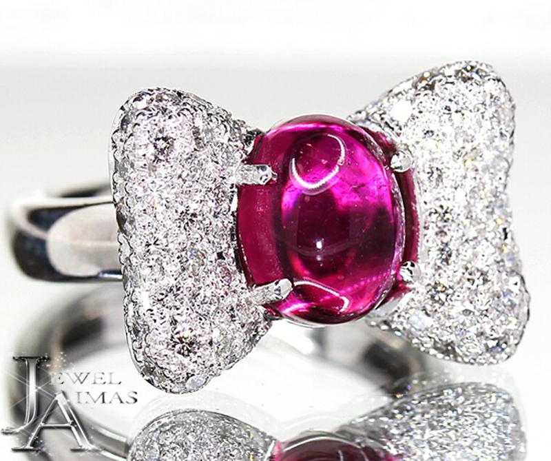 【ジュエリー】ルベライト トルマリン 2.67ct ダイヤモンド 0.95ct カボション リボン リング K18WG 11号【中古】ZPG
