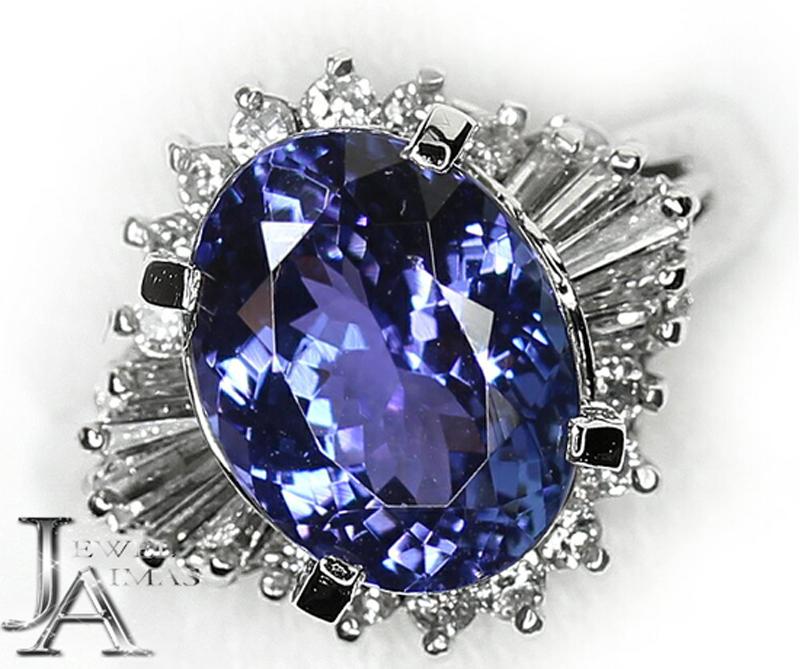 【ジュエリー】タンザナイト ブルーゾイサイト 3.2ct ダイヤモンド 0.43ct リング 9号 PT900【中古】ZPG