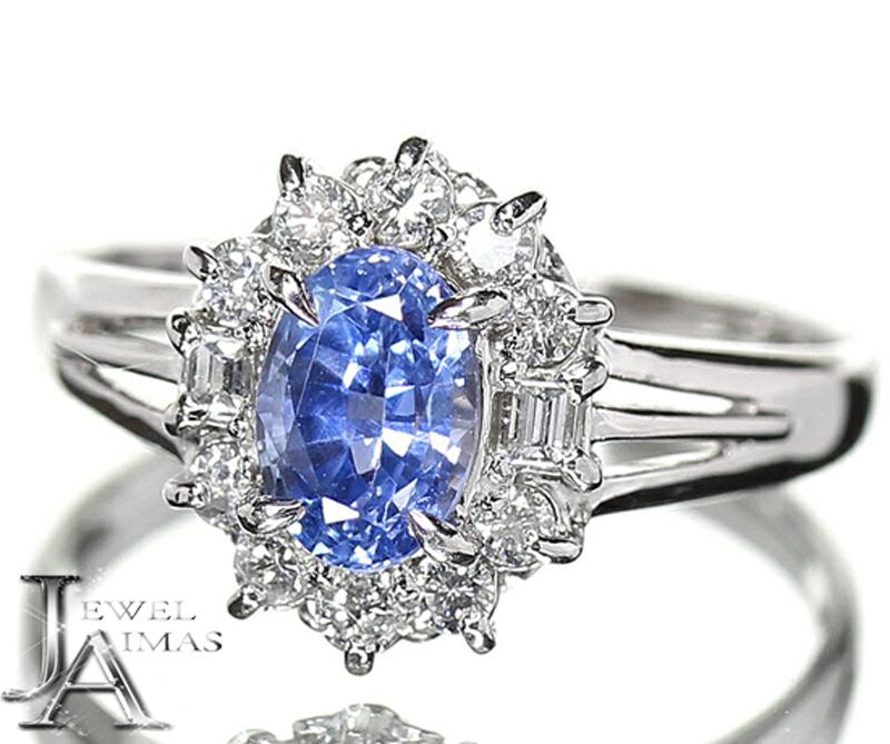 【ジュエリー】ブルーサファイア サファイア 1.2ct ダイヤモンド 0.33ct リング 14号 PT850【中古】ZPR