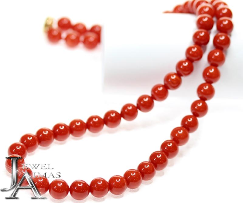 赤珊瑚 赤サンゴ 赤さんご 7.6mm-7.9mm玉 連ネックレス K18YG 【中古】【ジュエリー】ZPB