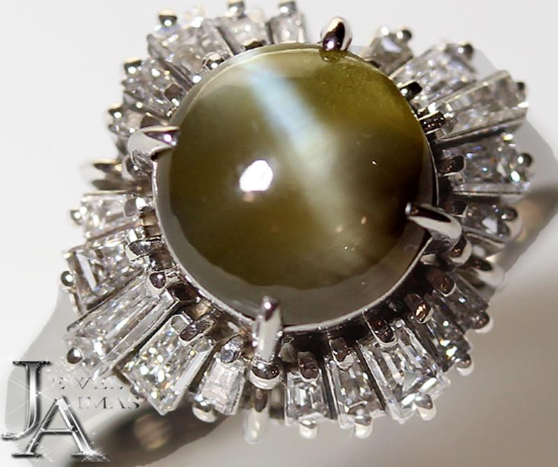 クリソベリルキャッツアイ 2.992ct ダイヤモンド 0.81ct リング 12号 PT900【中古】【ジュエリー】ZPP