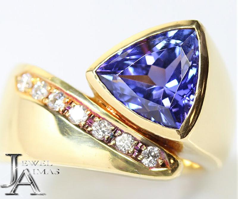 タンザナイト 2.63ct ダイヤモンド 0.15ct リング 10号 K18YG 〈中央宝石〉【中古】【ジュエリー】ZPP