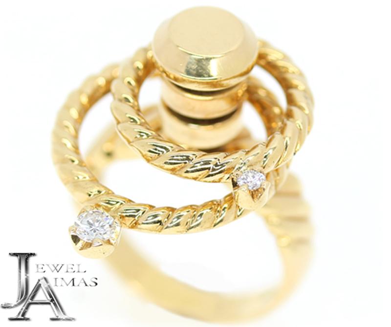 【WALTHAM】ウォルサム ラージメレダイヤモンド1P メレダイヤモンド 1P スイング ムービング リング 11.5号 750 K18YG イエローゴールド 【中古】MJL