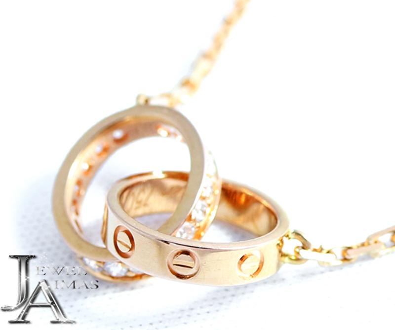 【Cartier】カルティエ ベビーラブ ダイヤモンド ネックレス K18PG/750PG ピンクゴールド【中古】MJL