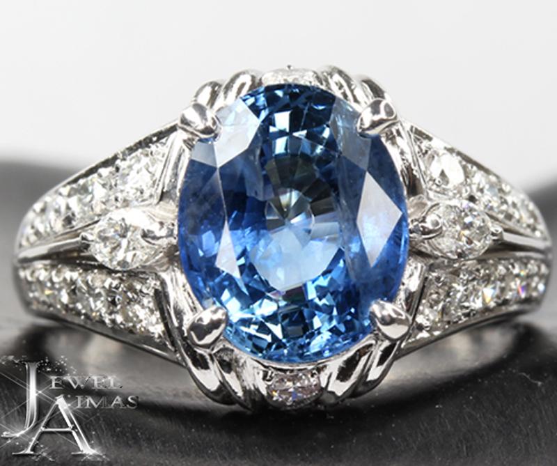 【ジュエリー】ブルーサファイア 4.83ct ダイヤモンド 0.6ct リング 14号 PT900【中古】
