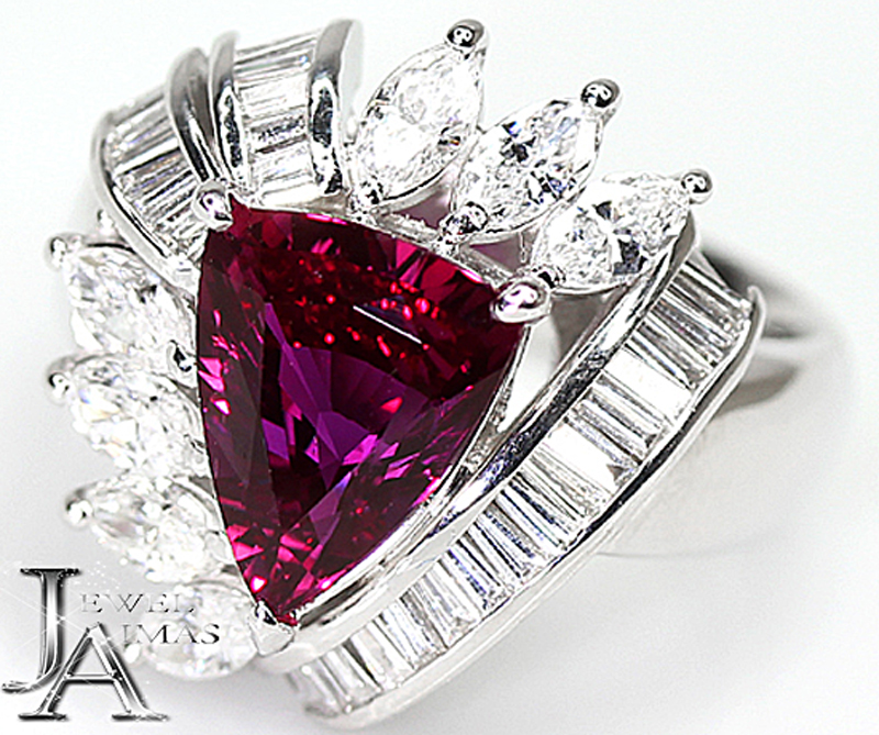 【ジュエリー】非加熱ルビー 3.05ct ダイヤモンド 1.75ct リング 13号 PT900 GIA <ノーヒート/no heating/unheated> 【中古】