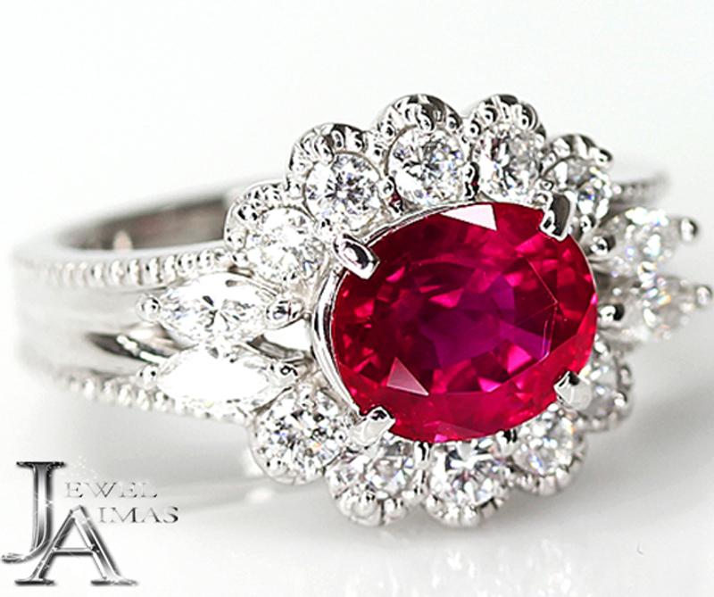 【ジュエリー】ミャンマー産(ビルマ産) ルビー 2.16ct ダイヤモンド 0.75ct リング 9号 PT900 GIA Myanmar/Burma【中古】