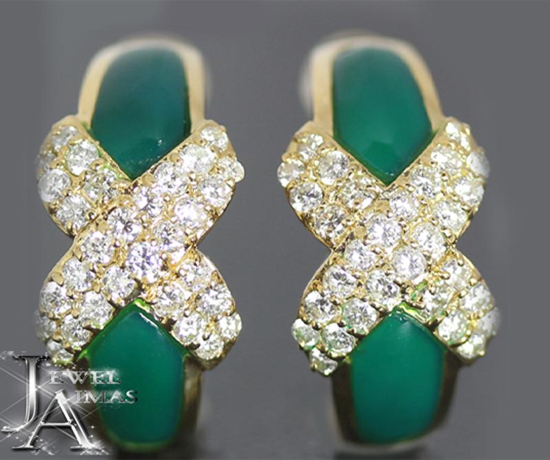 グリーンカルセドニー H 4mm×W 11.3mm ダイヤモンド 0.5ct 0.5ct ピアス K18YG イエローゴールド 【中古】【ジュエリー】MJL