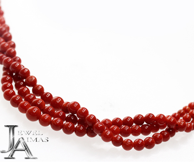 【ジュエリー】赤珊瑚 赤サンゴ さんご 3.0-6.5mm 3連ネックレス K18YG【中古】
