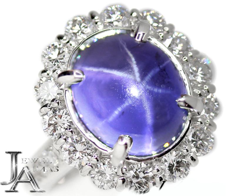 【スーパーSALE10%オフ】スリランカ産 スターサファイア 8.81ct ダイヤモンド 1.31ct リング 12号 PT900 プラチナ ブルーサファイア 非加熱サファイア <AIGS鑑別書付>【新品】【ジュエリー】MJL