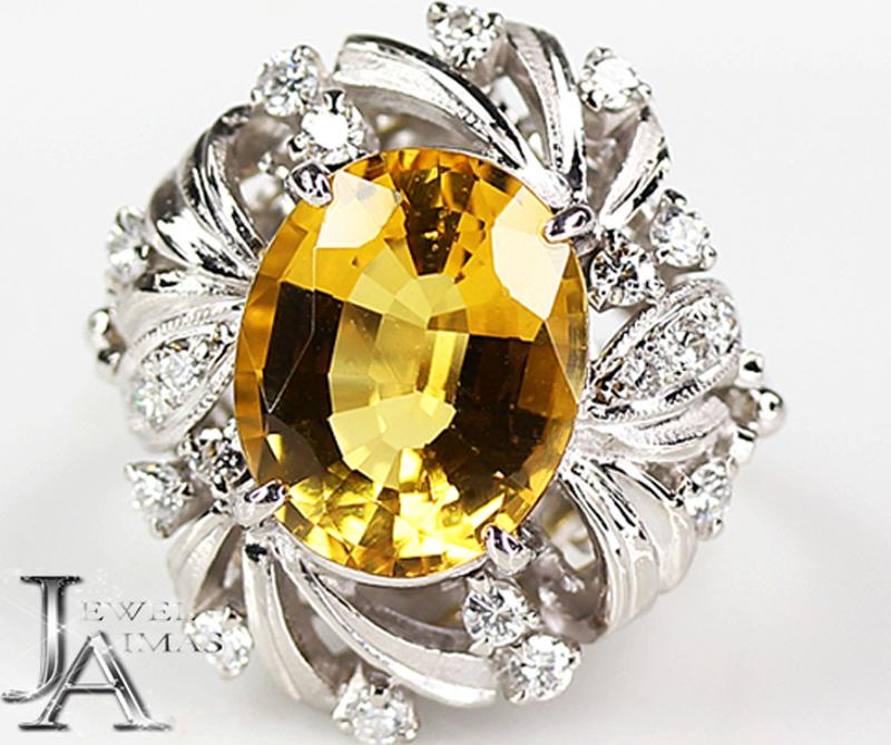 【スーパーSALE20%オフ】【ジュエリー】イエローベリル 4.402ct ダイヤモンド 0.44ct リング 9号 PT900【中古】