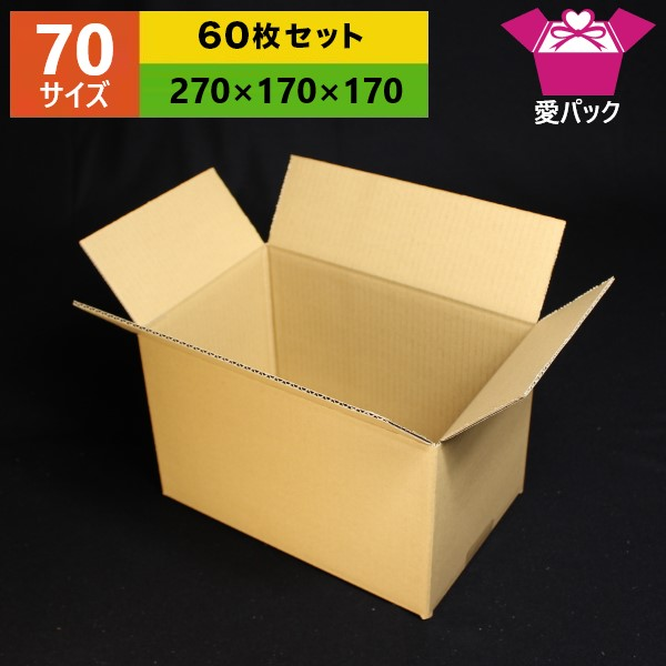 オーダーメイドダンボール箱 ダンボール箱 全店販売中 70 80 サイズ オーダーメイド 270×170×170 無地×60枚 日本製 梱包用 通販用 薄型素材 引っ越し 引越し 無地ケース 段ボール 毎日続々入荷 収納 小物用