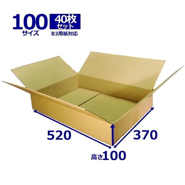 ダンボール箱100サイズ B3【40枚セット】 【段ボール箱】【B3】【日本製無地】【薄型】【ダンボール】【B段】【宅配100サイズ】【あす楽対応】 02P03Dec16