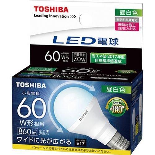 (送料無料)LED電球 LDA7N-G-E17/S/60W 東芝ライテック ミニクリプトン形 昼白色広配光タイプ小形電球60W形相当(LDA7NGE17S60W)