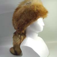 毛皮帽子の定番!fur hat 毛皮帽子 赤キツネ フォックスファー しっぽ付帽子 クロケット【送料無料】
