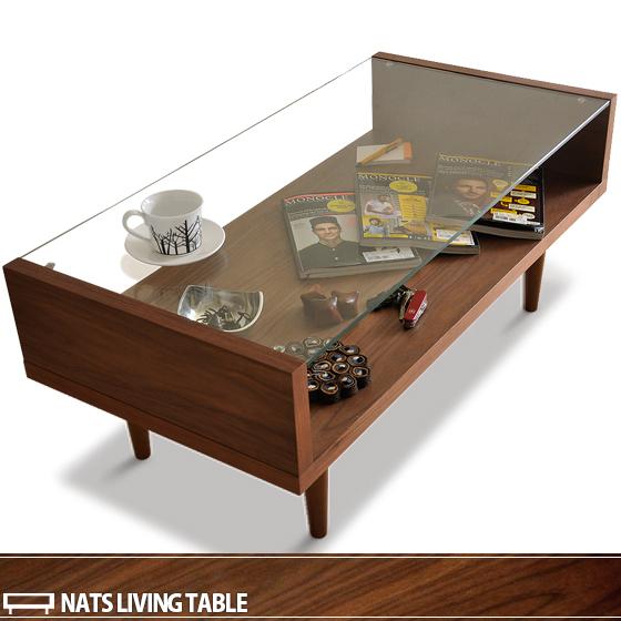 テーブル ローテーブル リビングテーブル ガラステーブル センターテーブル 北欧 ガラス 木製 リビング ウォールナット おしゃれ かわいい シンプル モダン ミッドセンチュリー カフェ風 NATS〔ナッツ〕 ウォールナット