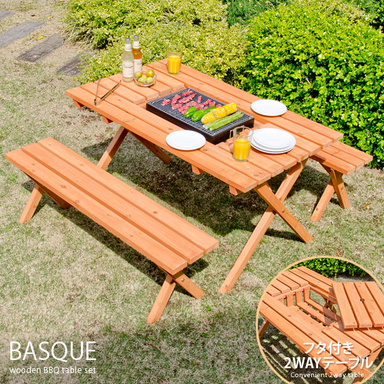 Garden table bench table \u0026 bench set wooden bench 3-point set outdoor garden table porch balcony terrace natural wood Cedar BBQ table Chair Chair BASQUE ...  sc 1 st  Rakuten & air-rhizome | Rakuten Global Market: Garden table bench table \u0026amp ...