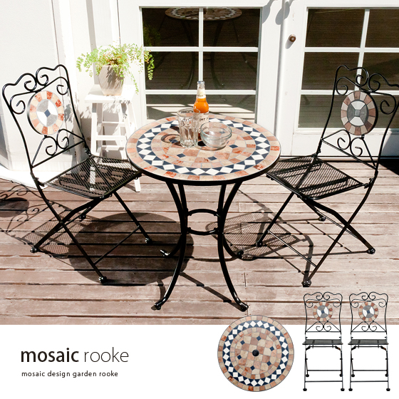 Garden table set 3-point garden table mosaic gardentablecheart stylish  veranda Chair garden furniture outdoor Chair chairs Art Deco tile design  open Café ... - Air-rhizome: Garden Table Set 3-point Garden Table Mosaic