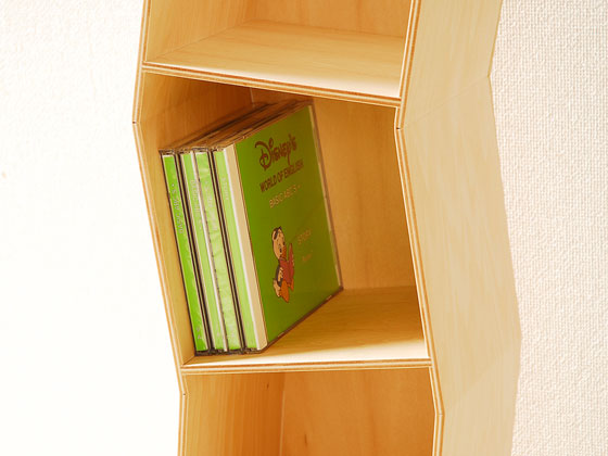 Rack storage CD rack shelf shelves wooden furniture bookshelves Nordic natural simple interior rack display display rack corrugated Yamato Univ. art CD rack natural