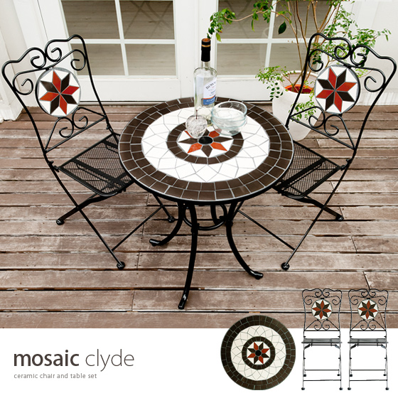Exterior Garden Table And Chairs 3 Point Set Mosaic Clyde [mosaic Clyde] Chair  Table 3 Point Set Table Chairs Chairs Balcony Terrace Steel Art Deco Tile  ...