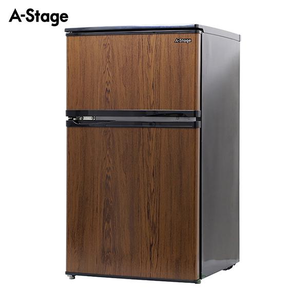 A-Stage 2ドア冷凍/冷蔵庫90L木目調 ダークウッド BR-90DW