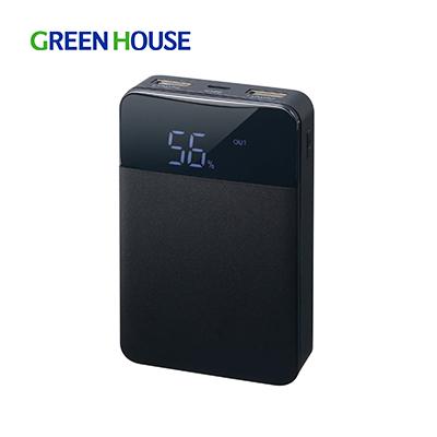 送料無料 残量表示付きモバイルバッテリー グリーンハウス モバイル充電器 10000mA ブラック GH-BTF100-BK PSE適合 有名な コンパクト 激安超特価 残量表示付