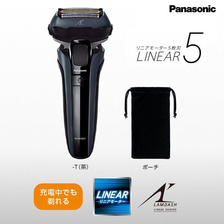 リニアシェービングテクノロジーで 早剃り 深剃り 新登場 肌へのやさしさを実現 パナソニック Panasonic リニアシェーバー 気質アップ ラムダッシュ 充電中でも剃れる ギフト対応 5枚刃 ES-LV5G-K 国内両用黒 3段階充電残量表示ランプ搭載 海外