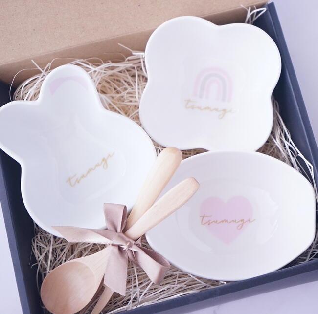 離乳食小鉢3点セット 無料サンプルOK ピンク うさぎ レインボー ハート 女の子 出産祝い 送料無料 ご予約品 Airie ギフトボックス入り 名入れ食器