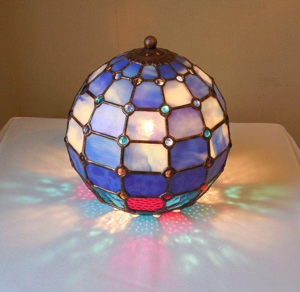 ランプスタンド『球体ランプ1』【ステンドグラス 青】