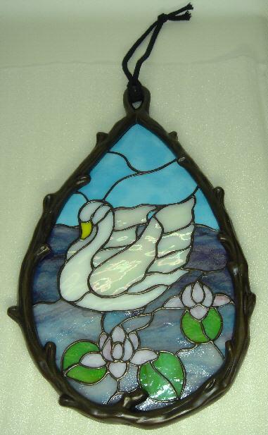 ステンドグラスパネル『メタリカ(白鳥)』