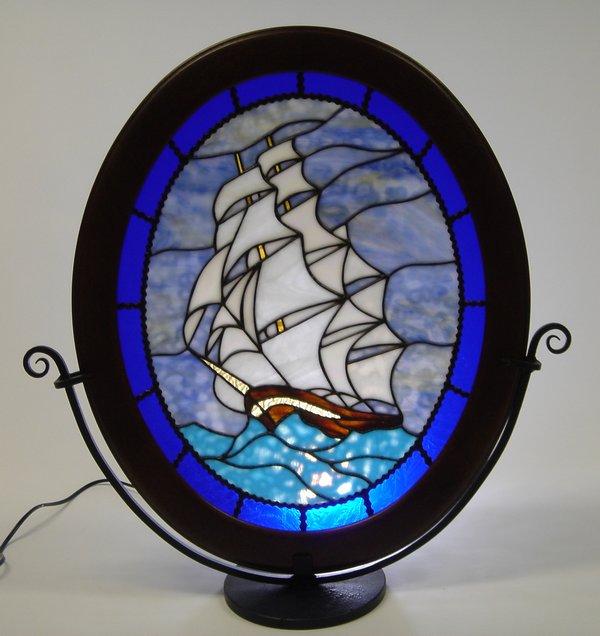 ステンドグラス楕円パネル『帆船(Cutty Sark)』【これまで216,000円で販売してきましたが・・・在庫一掃キャンペーン!】