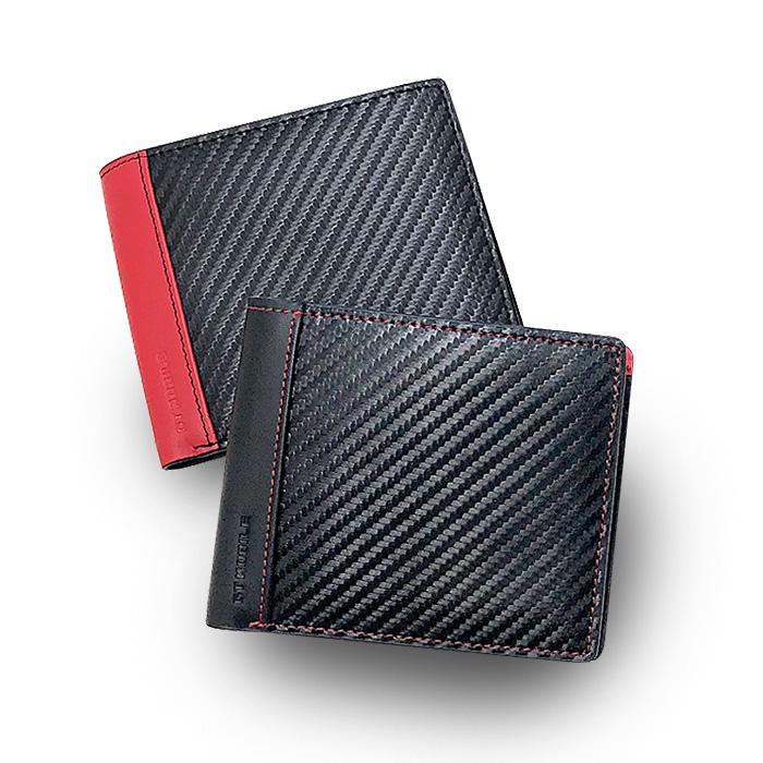 GT-MOBILE 二つ折札入れ カーボン調が高級感あふれる メンズ 二つ折り財布 ウォレット ブラック レッド カーボン調 大人 男性 財布 札入れ カードケース