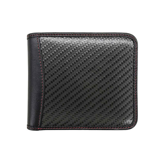 GT-MOBILE 二つ折財布 リアルカーボン 本革 メンズ 財布 ウォレット ブラック カーボン 大人 男性 シンプル リアルレザー