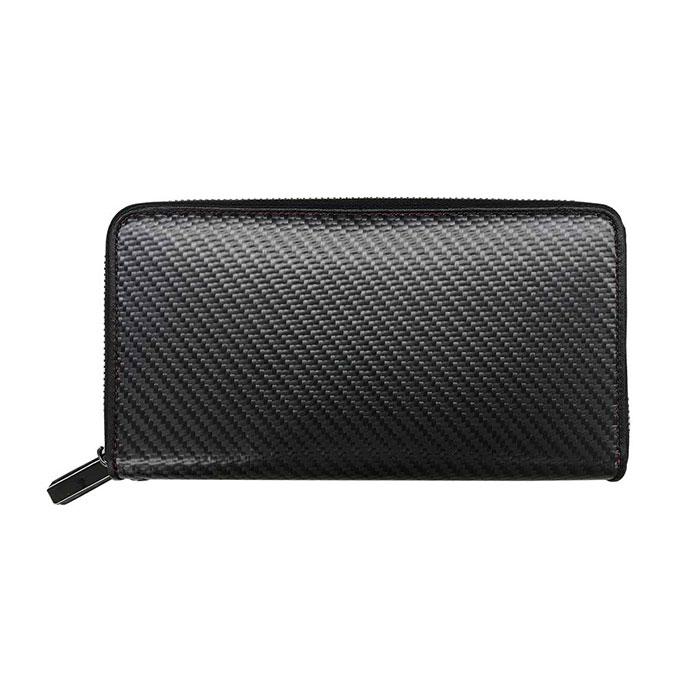 GT-MOBILE リアルカーボン ラウンドファスナー長財布 メンズ 財布 ウォレット ブラック カーボン 大人 男性 シンプル 小銭入れ