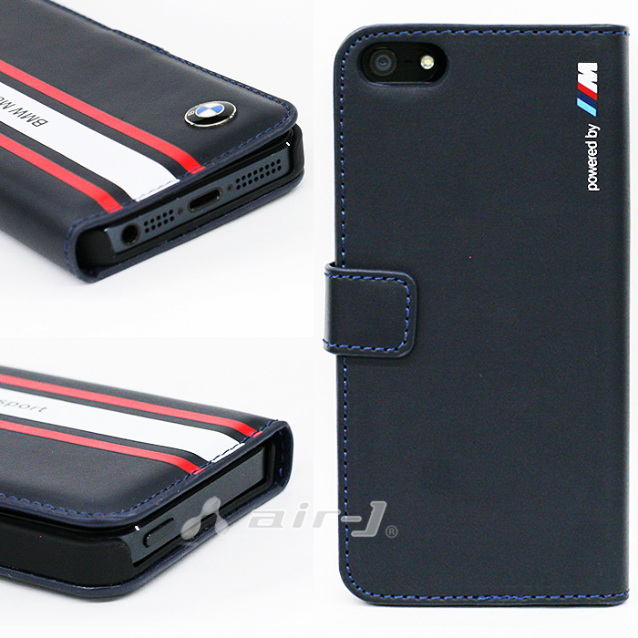 BMW・공식 라이센스품 iPhoneSE iPhone5s iPhone5 전용 플립 케이스 북 타입 수첩형[Motorsport Collection] [Flap Booktype Navy Blue for iPhoneSE/5 s/5] BMFLHP5SN 레더 커버 아이폰 5 s
