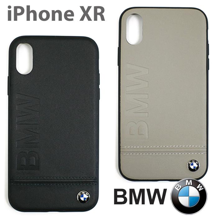 BMW・公式ライセンス品 iPhoneXRケース アイフォンXRケース アイフォンXR iPhoneケース 本革 ハードケース ビーエム バックカバー リアルレザー カーブランド 車 シンプル かっこいい ビジネス メンズ エンボス ブラック ベージュ【送料無料】