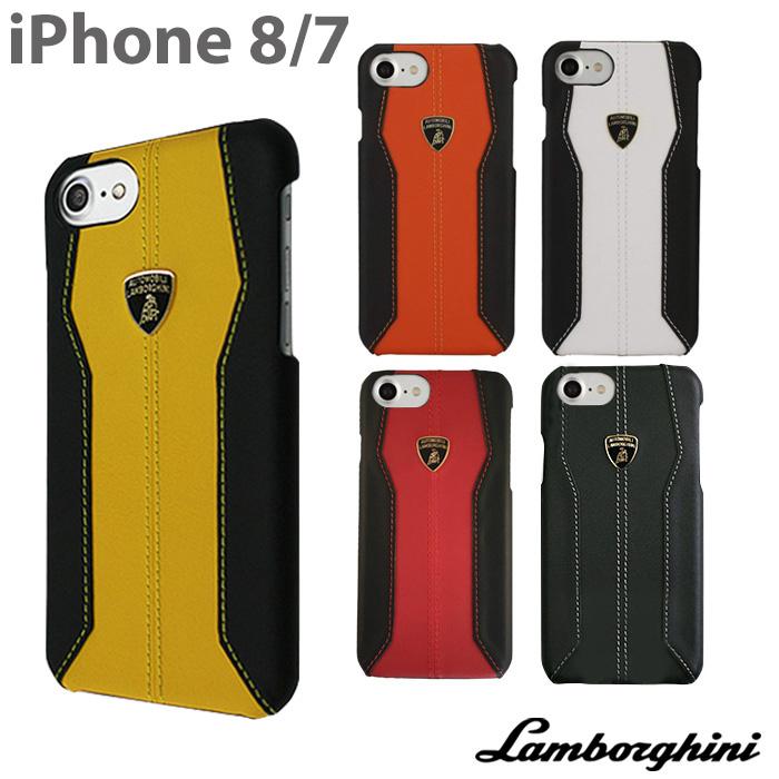 ランボルギーニ・公式ライセンス品 iPhone8 iPhone7 アイフォン8 アイフォン7 ケース ハードケース 【本革 レザー バックカバー 背面 ジャケット かっこいい メンズ シンプル ビジネス スマホケース ブランド】送料無料