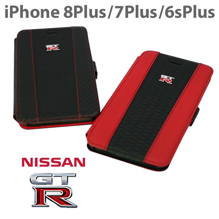 日産 GT-R 公式ライセンス品 iPhone8Plus 7Plus 6sPlus ケース 手帳型 【 本革 が上品な アイフォン8プラス 7プラス レザー ブックタイプ かっこいい メンズ シンプル ビジネス レッド ブランド カード収納 カードフォルダー 】送料無料 プレゼント ギフト