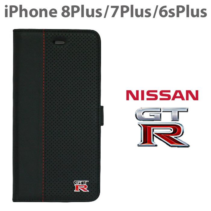 日産 GT-R 公式ライセンス品 iPhone8Plus 7Plus 6sPlus ケース 手帳型 【 本革 ×パンチングが上品な アイフォン8 アイフォン7 プラス レザー ブックタイプ かっこいい メンズ シンプル ビジネス ブラック ブランド カード収納 カードフォルダー 】送料無料