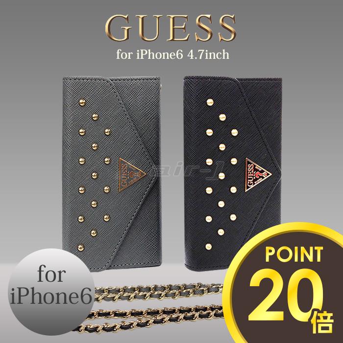 GUESS (추측)/공식 라이센스 제품 iPhone6 4.7 inch 부드러운 가죽 수첩 형 (북 타입) 케이스 클러치 가방 브랜드 커버 가죽 케이스 [Studded Clutch Case for iPhone6] 수 박 パスモ IC 카드 홀더 포함
