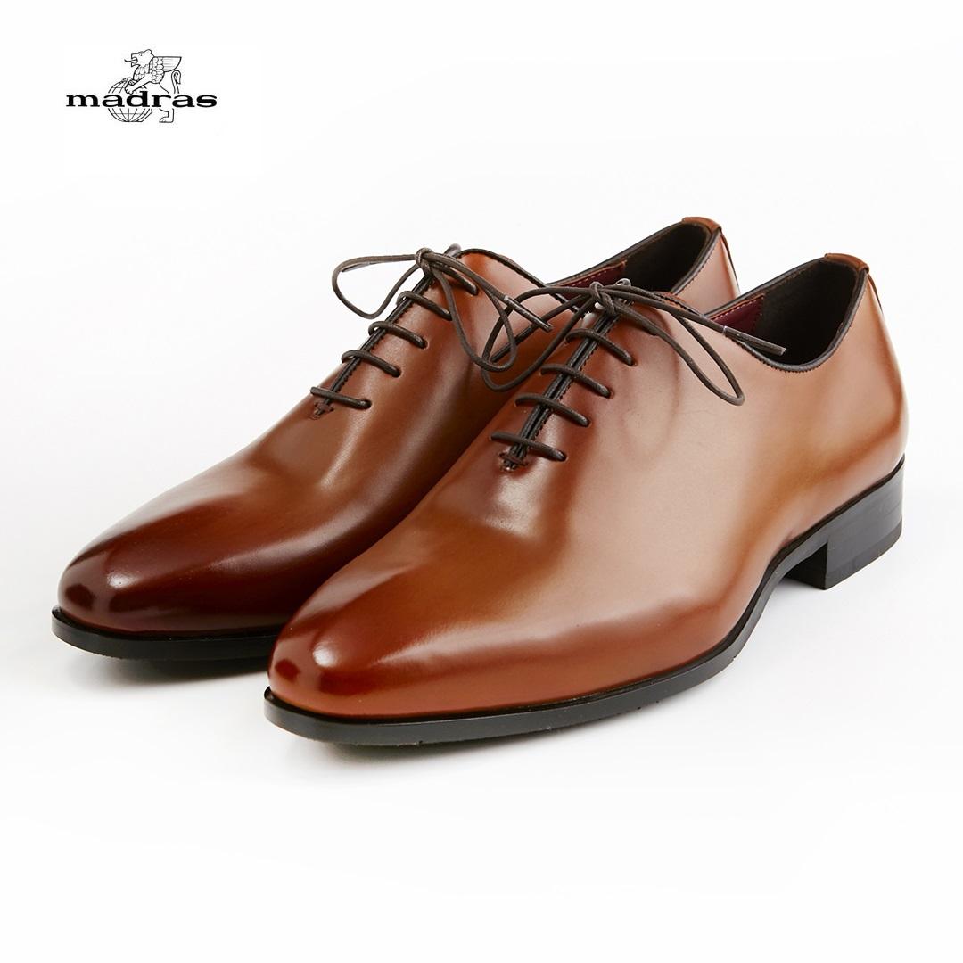 【madras/マドラス】【日本製/本革】【3E】M351 ビジネスシューズ メンズ 紳士靴(ライトブラウン)内羽根プレーンドレス