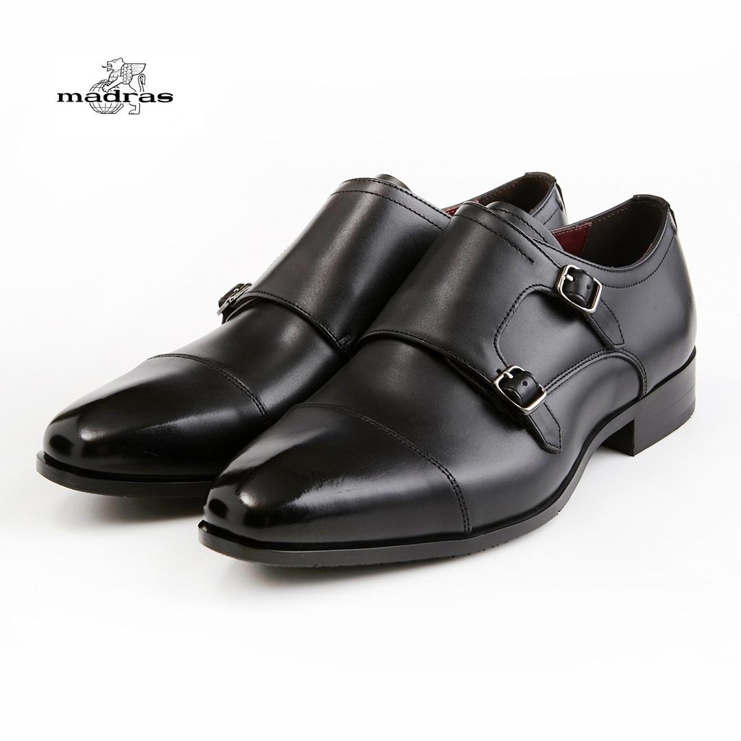 【madras/マドラス】【日本製/本革】【3E】M352 ビジネスシューズ メンズ 紳士靴(ブラック)ダブルモンク