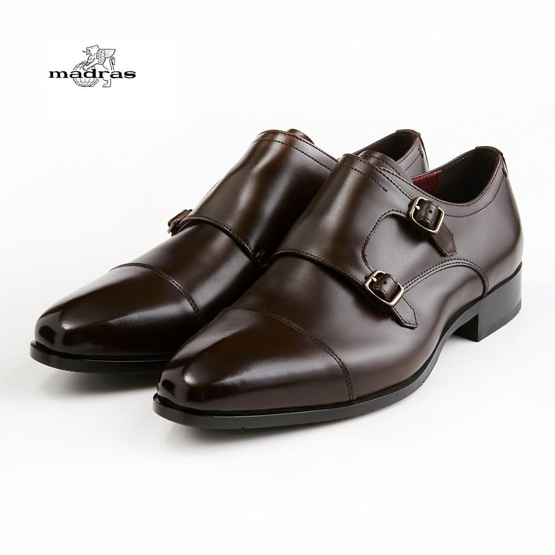 【madras/マドラス】【日本製/本革】【3E】M352 ビジネスシューズ メンズ 紳士靴(ダークブラウン)ダブルモンク