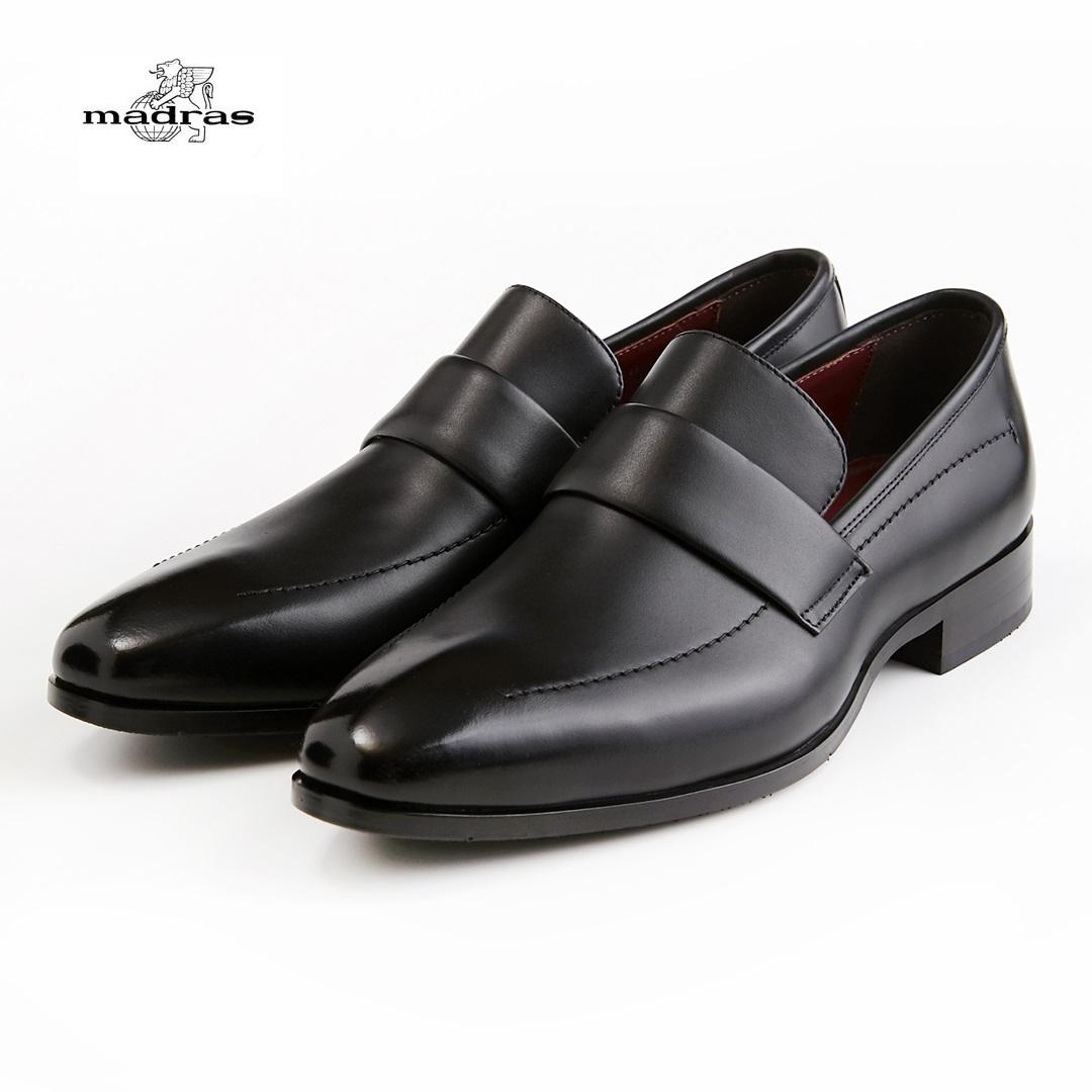 【madras/マドラス】【日本製/本革】【3E】M353 ビジネスシューズ メンズ 紳士靴(ブラック)ワールステッチローファー