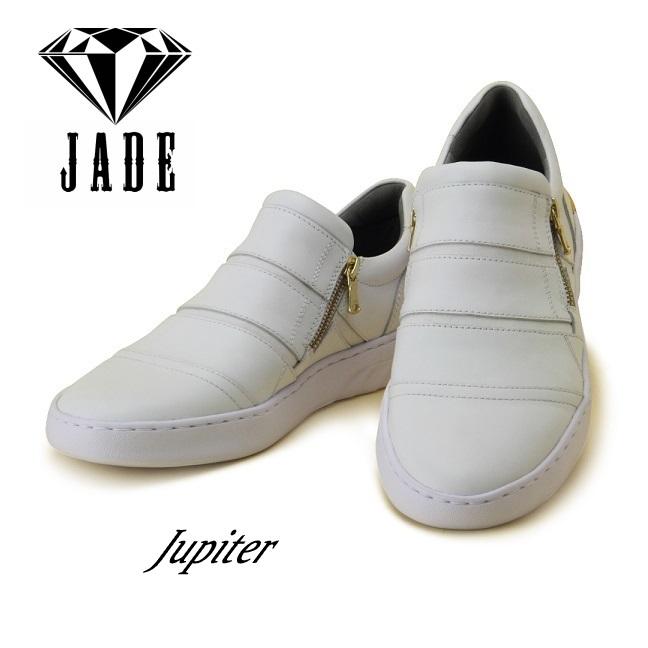 【JADE/ジェイド】JD505 【ダンスシューズ】ダンサー (ホワイト)ヒップホップ ストリート スニーカー Wジッパー