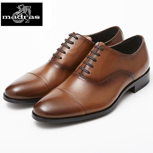【madras/マドラス】【日本製/本革】【3E】M4401 ストレートチップ 内羽根 ビジネスシューズ メンズ 紳士靴(ライトブラウン)