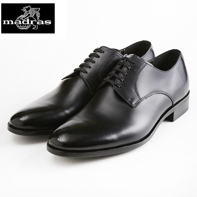 madras/マドラス 日本製/本革 3E M4402 外羽根 プレーントゥ ビジネスシューズ メンズ 紳士靴(ブラック)