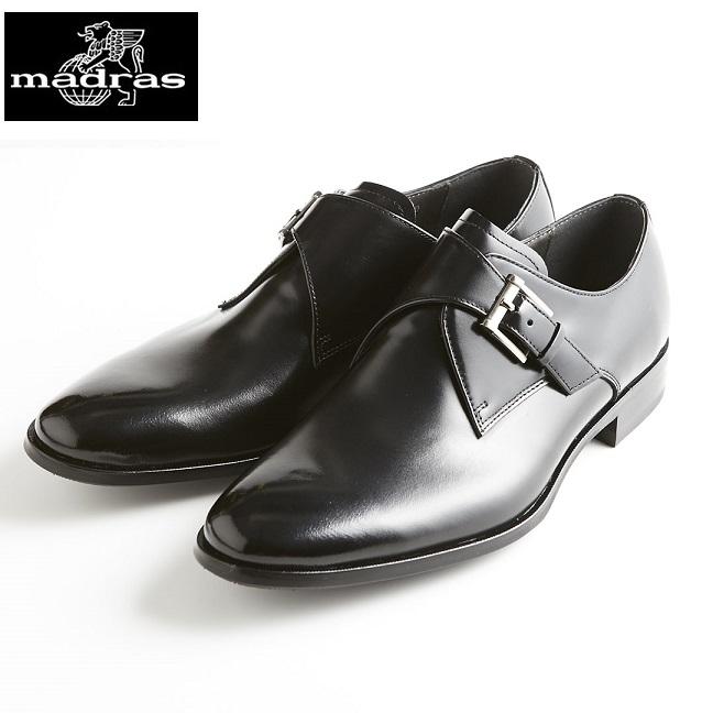 【madras/マドラス】【日本製/本革】【3E】M4403 モンクストラップ ビジネスシューズ メンズ 紳士靴(ブラック)