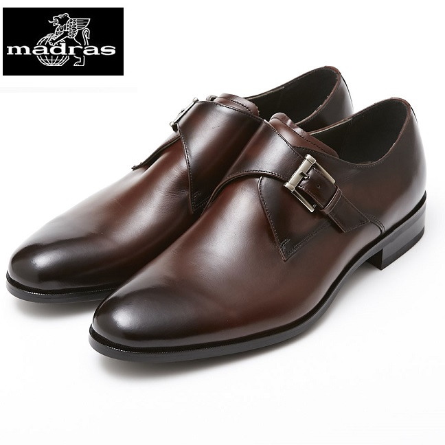 【madras/マドラス】【日本製/本革】【3E】M4403 モンクストラップ ビジネスシューズ メンズ 紳士靴(ダークブラウン)