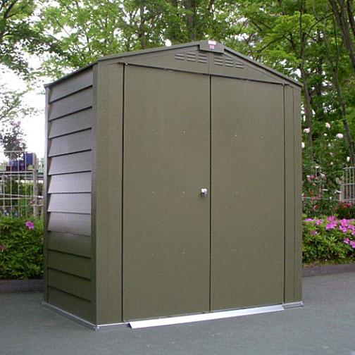 物置 メタルシェッドTM6 アペックスルーフ(オリーブグリーン)【屋外 大型物置 DIY ガルバ製 ガーデニング 自転車 収納庫】